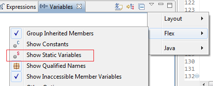 Show static variables in Flash Builder